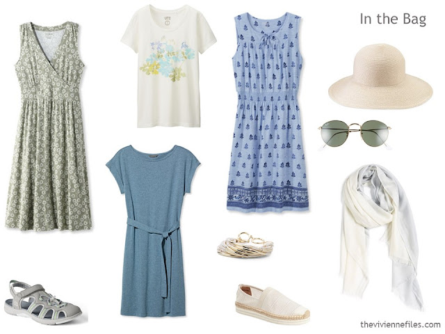 A weekend beach capsule travel wardrobe for someone who neither swims nor wears shorts.