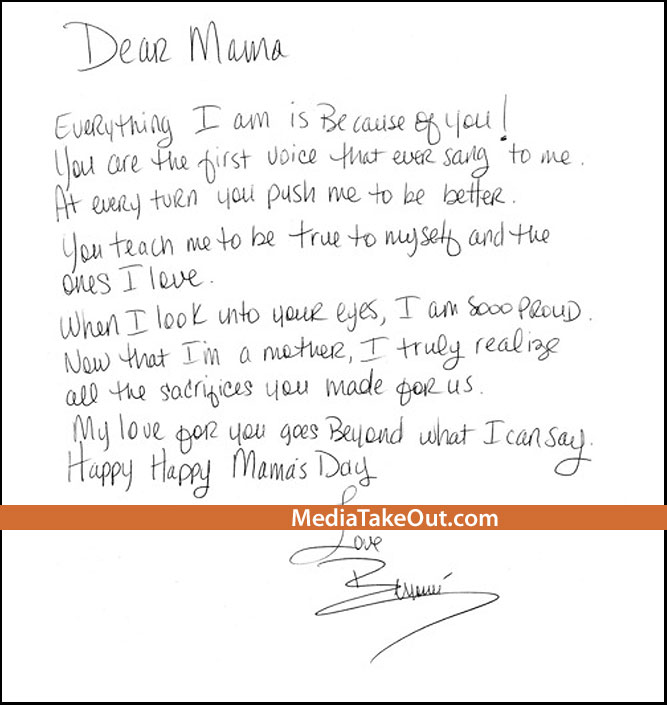 BERRYKISS INSPIRES Aww Beyonce Writes Mum A Letter For Mother s