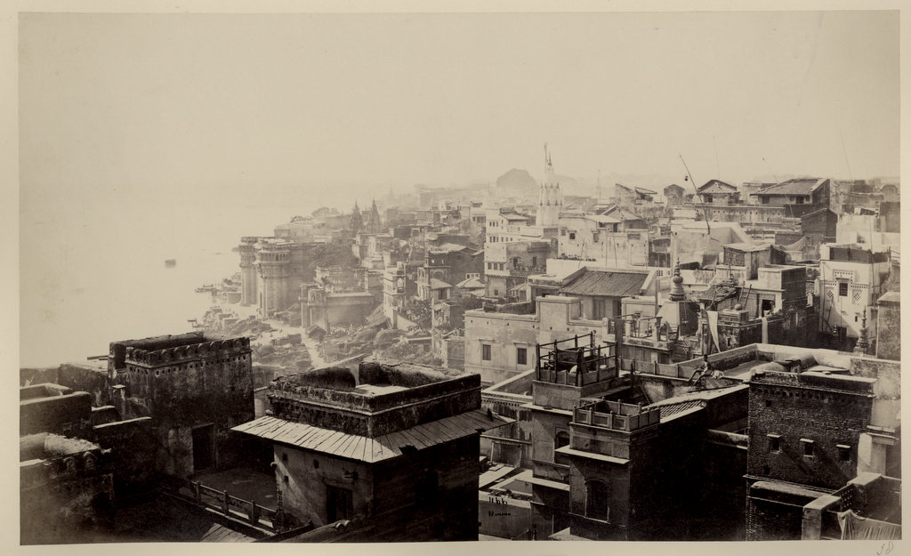 Benares (Varanasi) Cityscape with River Ganges - c1860's