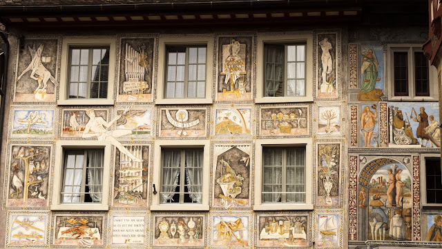 Painted facade in Stein am Rhein Switzerland, a popular day trip destination from Zurich by car