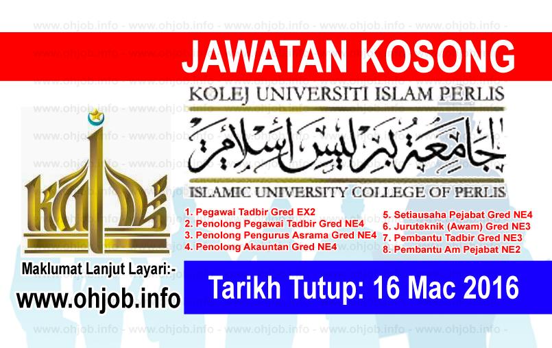Jawatan Kerja Kosong Kolej Universiti Islam Perlis (KUIPs) logo www.ohjob.info mac 2016