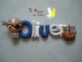 nombre-fieltro-name-banner-Oliver-elbosquedelulu-piratas-felt-feltro-decoración-infantil-regalo-nacimiento-letras-decorativas