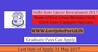 Delhi State Cancer Recruitment 2017– 106 Lower Division Clerk, Registration Clerk-Cum-Computer Operator