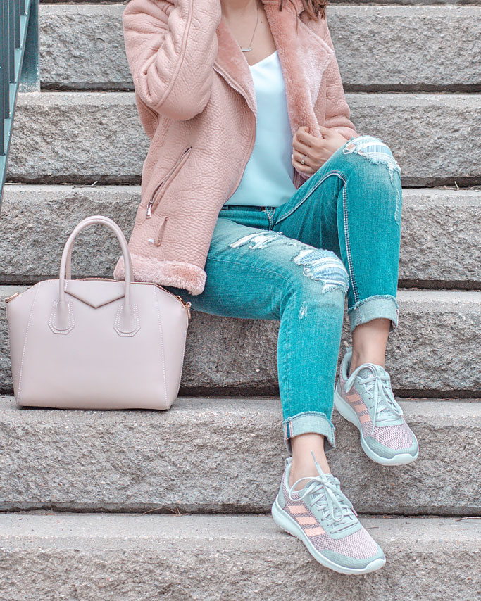 Pink Shearling Aviator Moto Jacket Distressed Jeans Adidas Cloudfoam Element Race Running Shoes Blogger Outfit