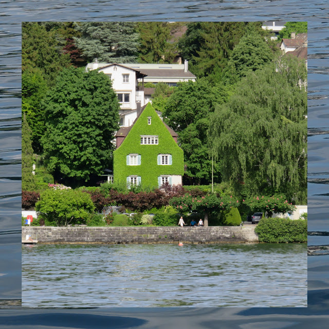 House covered in moss on Zurich Lake