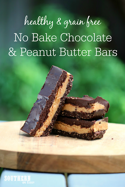 Healthy No Bake Chocolate and Peanut Butter Bars Recipe – healthy, grain free, raw, gluten free, vegan, refined sugar free, clean eating recipe, homemade candy bars