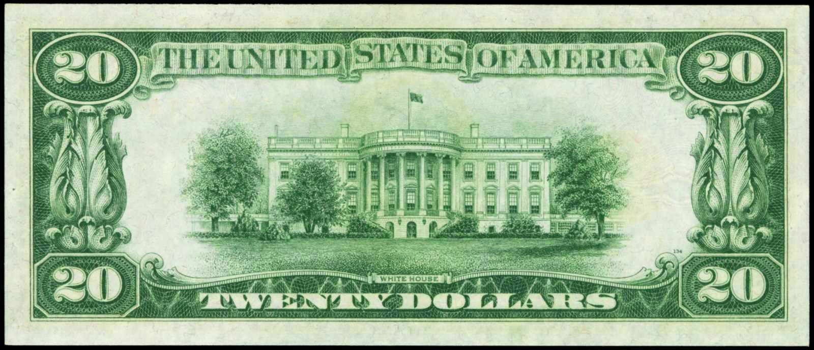 United States currency twenty dollar bill