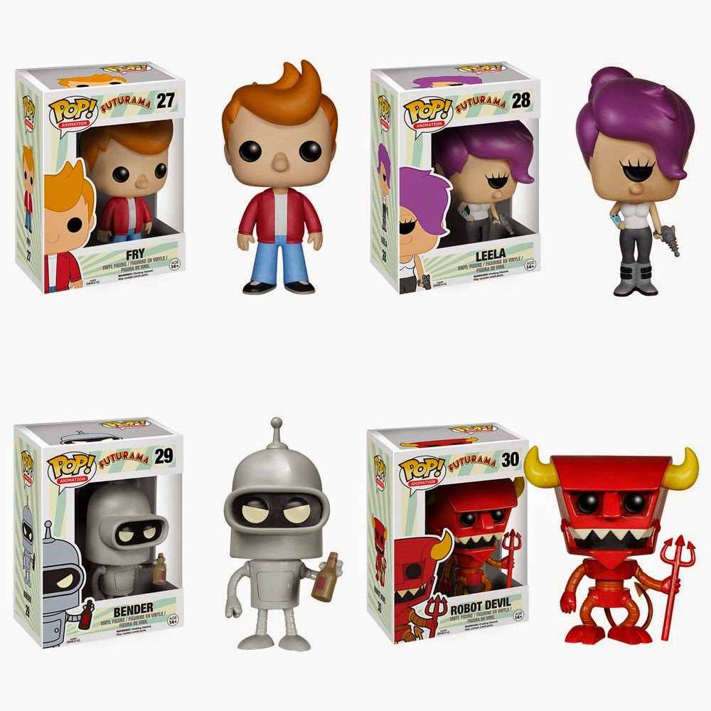 Futurama Pop! Animation Vinyl Figures by Funko - Fry, Leela, Bender & Robot Devil