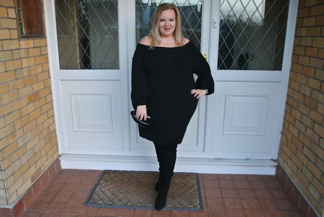 Plus size Chunky Knit Bardot Jumper Dress from River Island with Thigh High Boots from ASOS