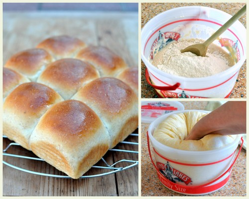 Homemade Yeast Rolls ♥ KitchenParade.com, my mom's recipe for soft yeast buns, she used an ice cream pail for mixing, kneading and rising!