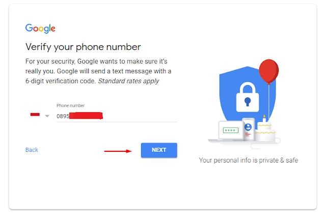 Verifikasi nomor telepon untuk daftar Gmail