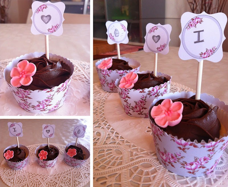 Shabby Chic Toppers y Wrappers para Cupcakes para Imprimir Gratis.