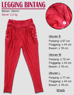 Koleksi legging polos untuk anak terbaru-bintang merah