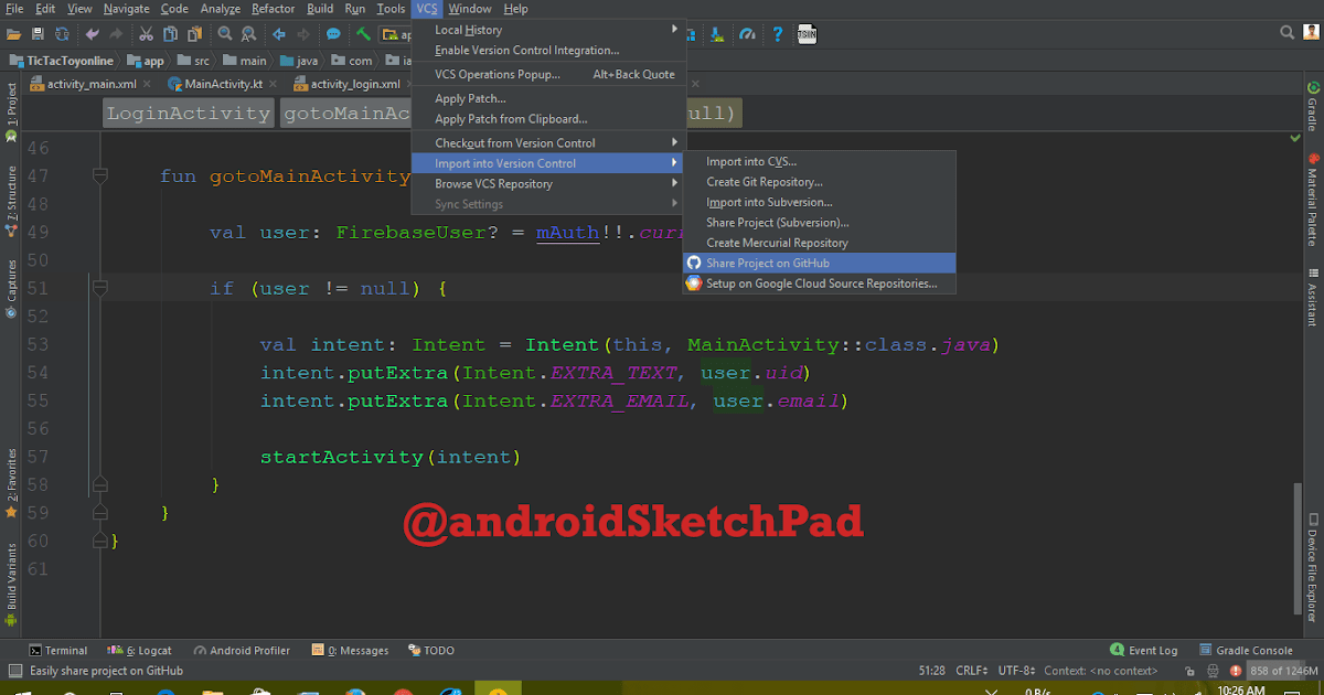 Android studio: share code on Github and add SSH key to you