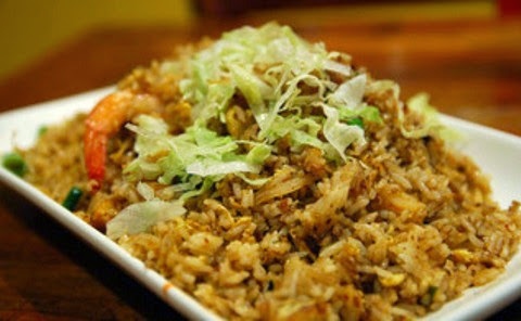 Fried Rice with Prawns, Potatoes and Lettuce