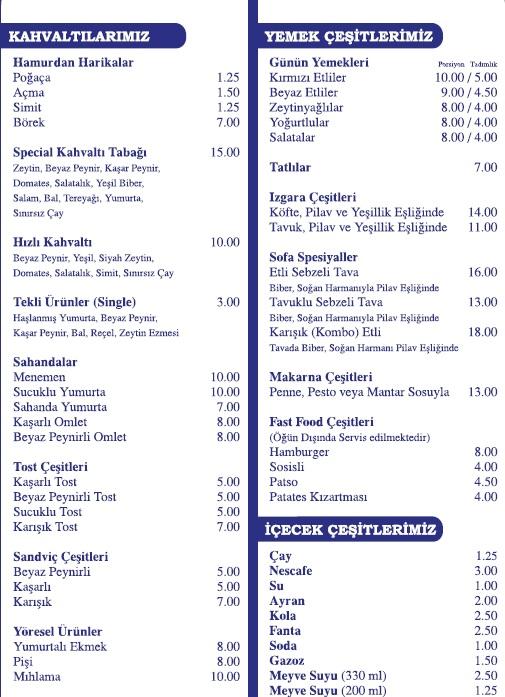 sofa butik lezzetler menü fiyatlar