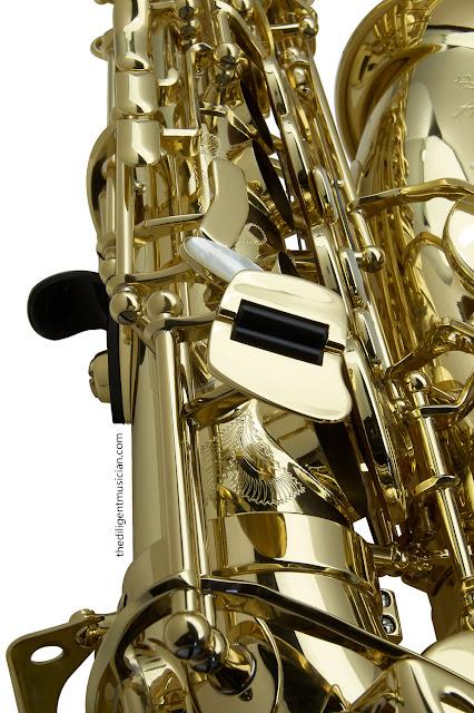 SeleS Axos Alto Saxophone body tube engraving detail