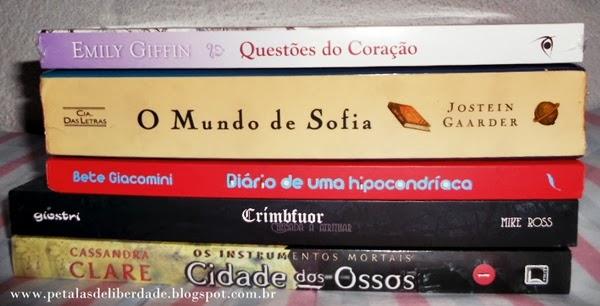 Livros, Agosto, Questões do Coração, O mundo de Sofia, Diário de uma Hipocondríaca, Crimbfuor, Cidade dos ossos