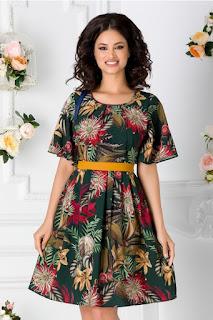Rochie de ocazii marime mare verde inchis cu imprimeu floral