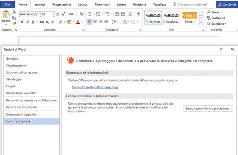 componenti aggiuntivi pannello opzioni di word