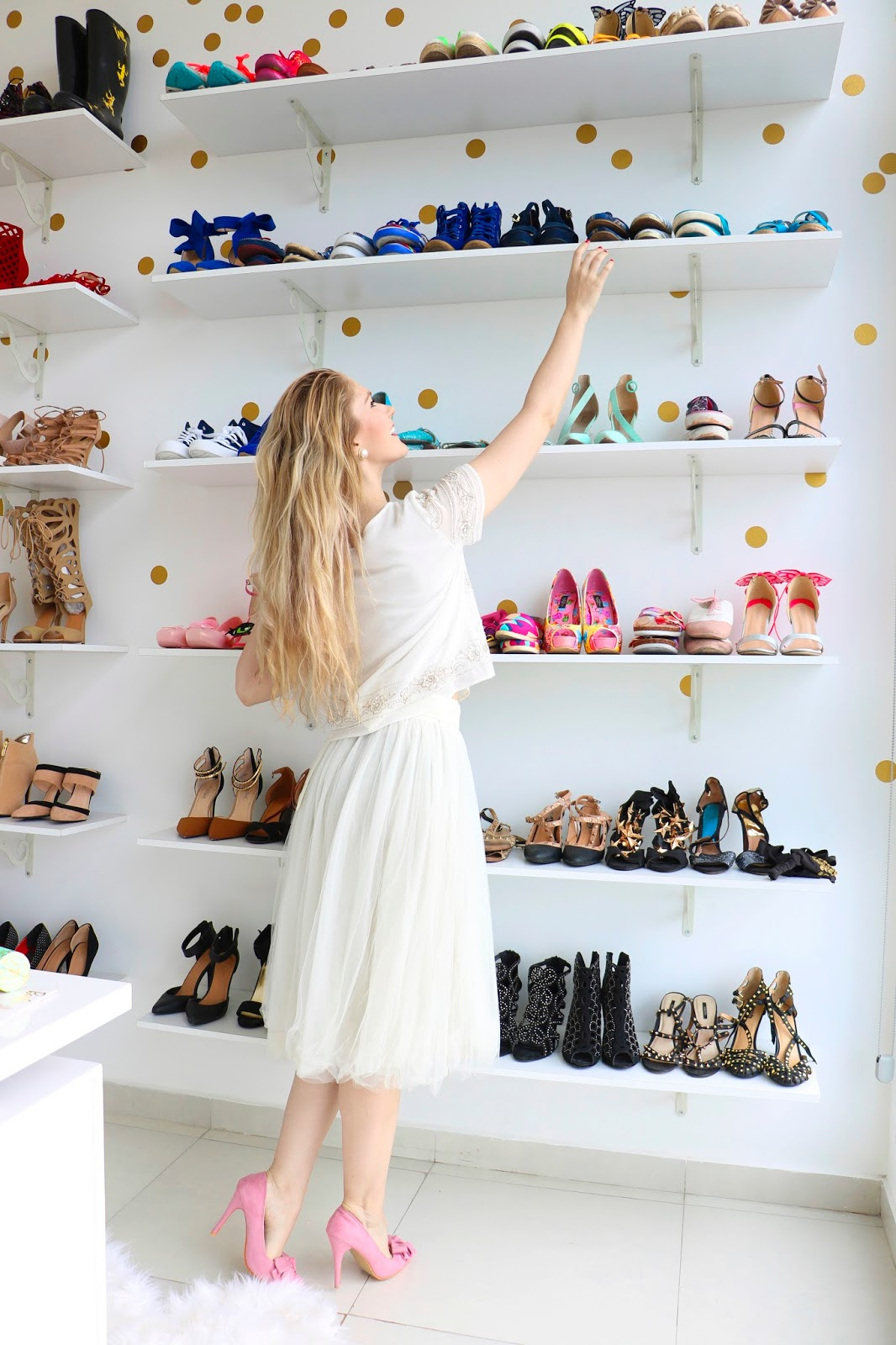 My dream closet had to include a ceiling to floor display of my shoe collection!