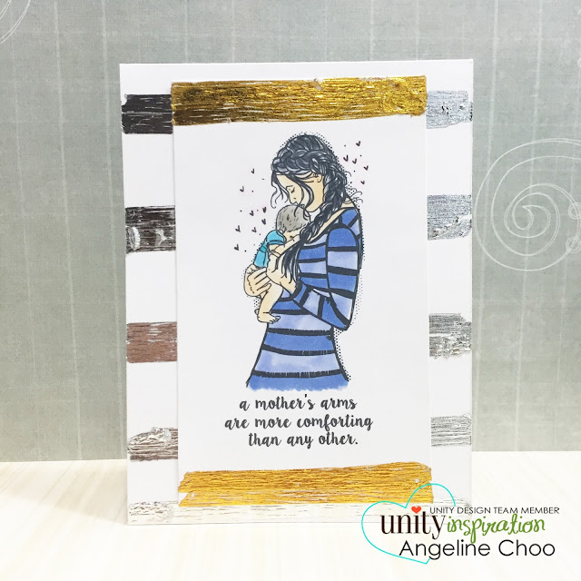 ScrappyScrappy: Mix Foiling card #scrappyscrappy #unitystampco #stamp #stamping #card #cardmaking #foil #mother #baby #copic