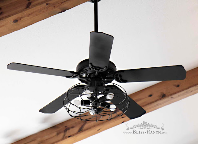 Ceiling Fan Updated with Paint & Lights, Bliss-Ranch.com