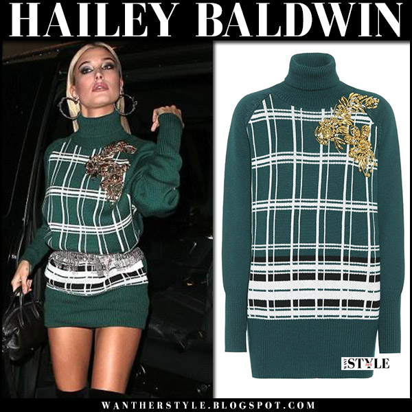 Hailey Baldwin in green knit turtleneck sweater Miu Miu london fashion week september 18 2017