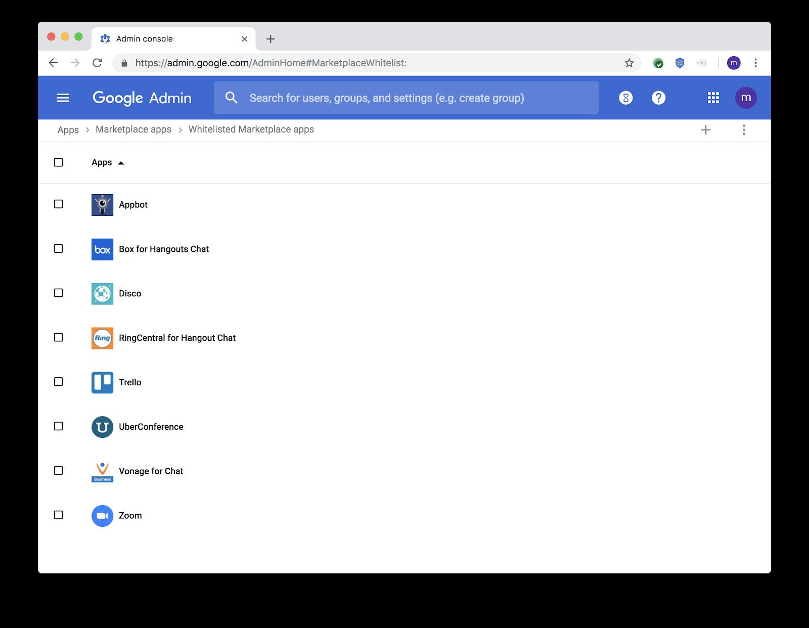 G Suite Updates Blog: Whitelist third-party bots for Hangouts Chat