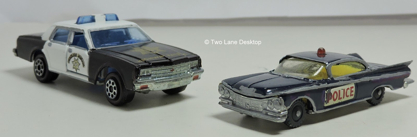 Husky 1959 Buick Electra police and Majorette 1980 Chevrolet
