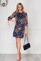 Rochie albastru-inchis scurta de zi cu un croi drept