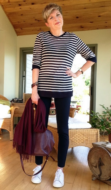 Veronica Beard pants, Alexander Wang tee, Nordstrom scarf, Stan Smith Adidas, Marc Jacobs bag