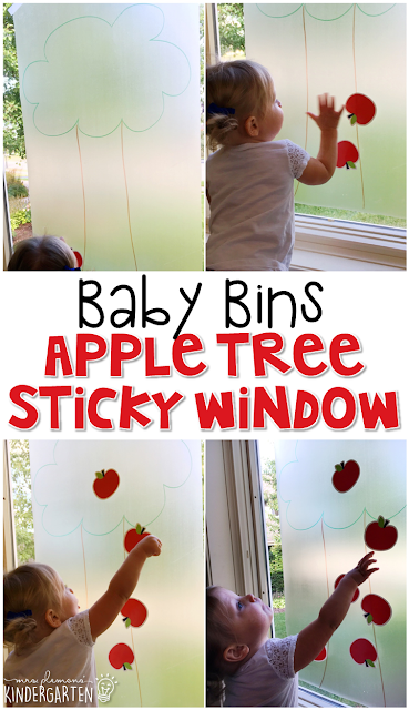 This apple tree sticky window is great for a red theme and is completely baby safe. These Baby Bin plans are perfect for learning with little ones between 12-24 months old.