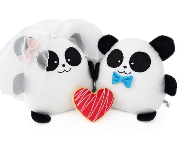 Pareja de boda personalizada, pandas de peluche guyuminos novios kawaii regalo aniversario plushies plushtoy wedding anniversary gift