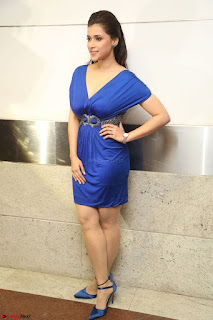 Mannara Chopra in Short Blue Dress at Rogue Movie Teaser Launch 1st March 2017 124.JPG