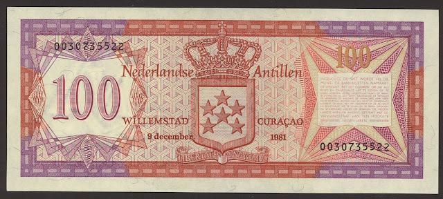 Netherlands Antillean 100 guilder bill