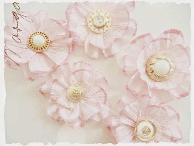 Crepe Paper Flower with Vintage Buttons Tutorial by Dana Tatar