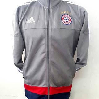 gambar desain terbaru jaket Jaket bayern Munchen warna abu-abu terbaru musim 2015/2016 kualitas grade ori di enkosa sport