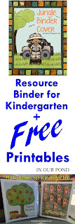 FREE Resource Binder for Kindergarten and Free Printables from In Our Pond