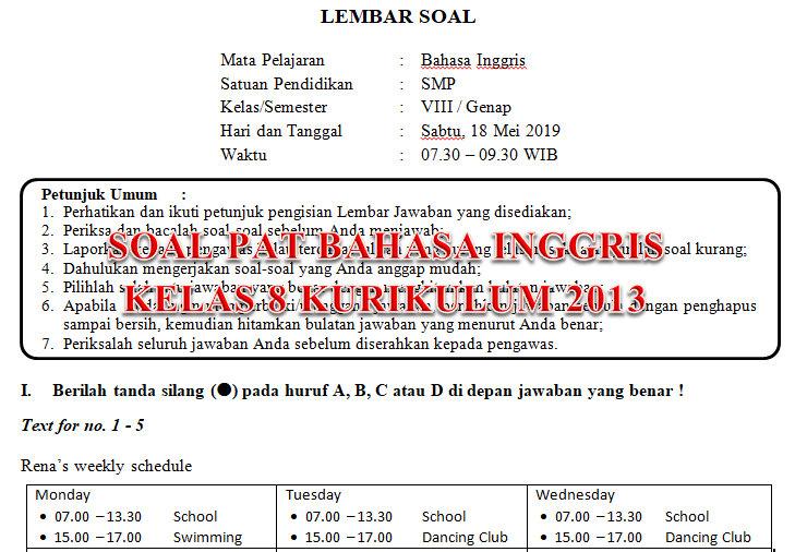 Soal Dan Kunci Jawaban Pat Bahasa Inggris Smp Kelas 8 Kurikulum 2013 Tahun Pelajaran 2018 2019 Didno76 Com