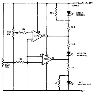 Battery Charge-Discharge Indicator Circuit Diagram