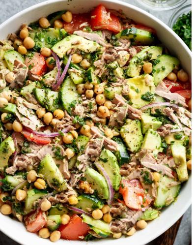 avocado chickpea tuna salad recipe #saladrecipe