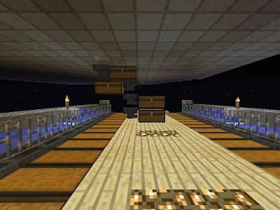 Een farm (wortelboerderij) in het spel Minecraft, opvangsysteem voor de wortelen met trechters en kisten.