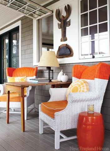 coastal decor in orange