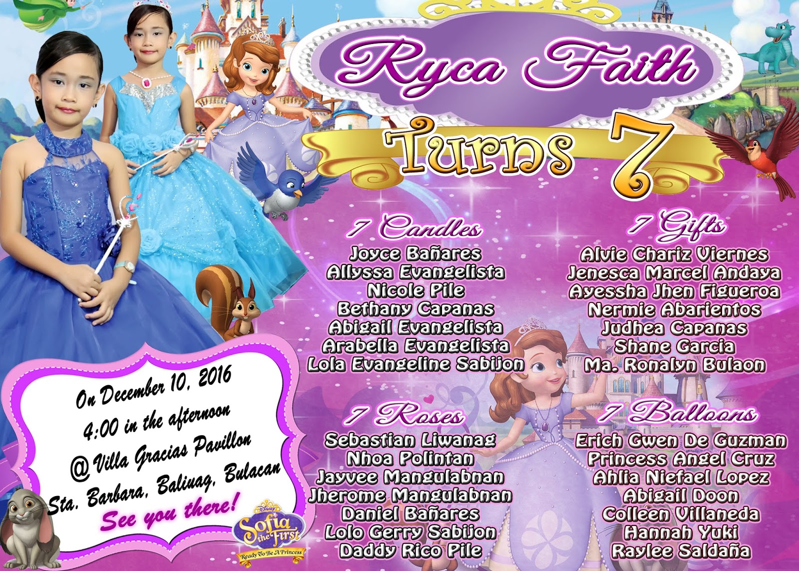 Sample Invitation Sofia The 1st For Seventh Birthday Get Layout