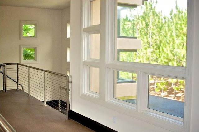 Picture of large and small windows on the hallway