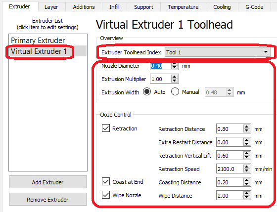 Configuring virtual extruder