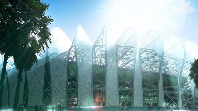 Rendering of new Grande Stade de Casablanca by SCAU, Casablanca, Morocco, entrance with people and palms