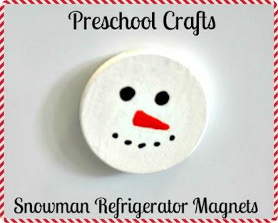Preschool Crafts: Easy Snowman Refrigerator Magnets