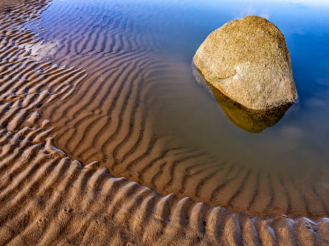 Photo of sand ripples and a small pool on the beach at Maryport